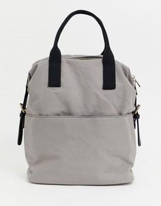 Парусиновый рюкзак на молнии с двумя ремешками ASOS DESIGN - Серый