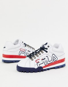 Белые кожаные кроссовки с большим логотипом Fila - Белый