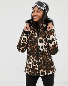 Комбинируемая горнолыжная куртка с поясом, дутыми вставками и леопардовым принтом ASOS 4505 - Мульти