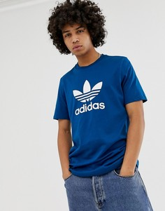 0205172f9661 Темно-синяя футболка с логотипом-трилистником adidas Originals DV1603 -  Синий