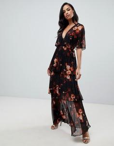 Ярусное платье макси с плиссировкой и цветочным принтом ASOS DESIGN - Мульти