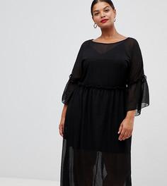 Свободное платье миди в горошек Lovedrobe - Черный