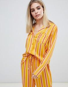 Комбинируемая рубашка из 100% модала в полоску ASOS DESIGN - Оранжевый