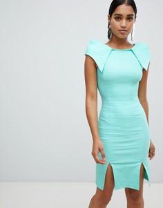 Платье миди с разрезом спереди и короткими рукавами Vesper - Синий