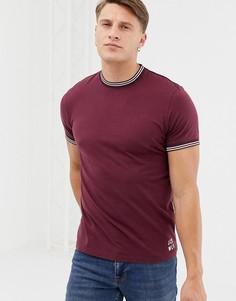 Бордовая футболка с двойным кантом Jack Wills Rousting - Красный