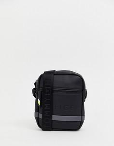 Черная сумка через плечо из искусственной кожи с серым логотипом Tommy Hilfiger - Черный