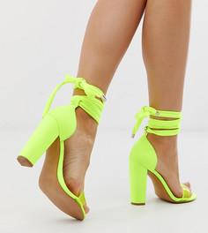 Неоново-желтые легкие босоножки для широкой стопы на каблуке ASOS DESIGN - Желтый