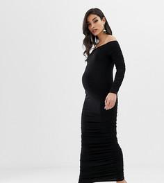 Облегающее платье мидакси с длинными рукавами и сборками ASOS DESIGN Maternity - Черный