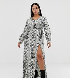 Платье макси с длинными рукавами и змеиным принтом Missguided Plus - Серый