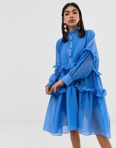 Свободное платье-рубашка с ярусными оборками Sister Jane - Синий