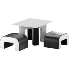 Обеденная Группа Мебелико Кармен эко-кожа черный-белый АртМебель