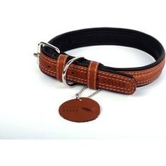 Ошейник CoLLaR SOFT кожаный двойной ширина 35мм длина 57-71см коричневый верх, черный низ для собак (7217)
