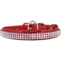 Ошейник CoLLaR Brilliance из лаковой кожи двойной с украшением полотно стразы ширина 15мм длина 27-36см красный для собак (30253)