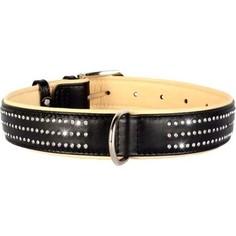 Ошейник CoLLaR Brilliance кожаный двойной со стразами маленькими ширина 35мм длина 46-60см черный для собак (38821)