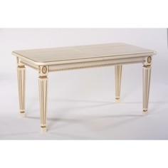 Стол обеденный Мебелик Меран 02 слоновая кость/патина 150x80