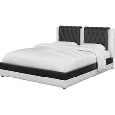 Интерьерная кровать Мебелико Камилла эко-кожа черно-белый АртМебель