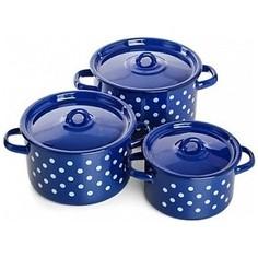 Набор эмалированной посуды 3 предмета СтальЭмаль Белый горох 1с33