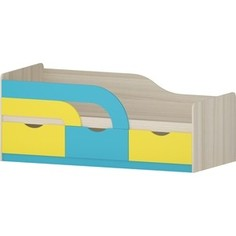 Кровать Атлант Карамель 74-01 ясень светлый/желтый/ бирюза