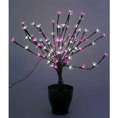 Светодиодная композиция Light Цветок в горшке цветы сакуры белый-розовый 60 см, 94 led чёрный провод