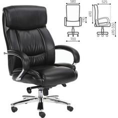 Кресло офисное Brabix Direct EX-580 хром, рециклированная кожа/черное 531824