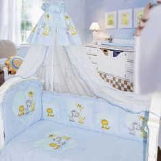 Комплект в кровать Золотой гусь 7 предметов Сафари голубой 1212