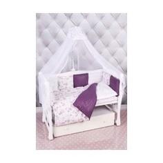 Комплект постельного белья AmaroBaby 18 предметов (6+12 подушек-бортиков) Амели (бязь, вишня-белый)