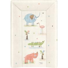 Матрац пеленальный Ceba Baby 70 см с изголовьем на кровать 120*60 см Elephant Gang ecru W-201-088-170
