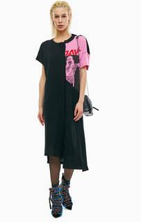 Хлопковое платье-футболка асимметричного кроя Diesel