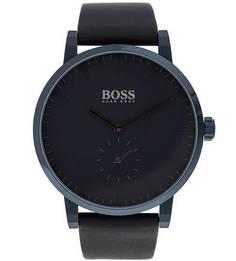 Кварцевые часы с синим кожаным ремешком Hugo Boss