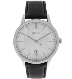 Кварцевые часы с черным кожаным ремешком Hugo Boss