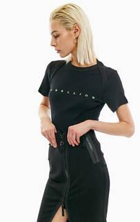 Черная хлопковая футболка с принтом и вышивкой Diesel