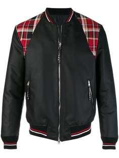 Alexander McQueen куртка-бомбер с клетчатыми панелями