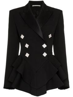 Alessandra Rich пиджак-смокинг с оборками и пуговицами с кристаллами
