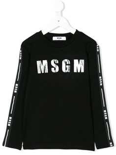 Msgm Kids топ с длинными рукавами и логотипом
