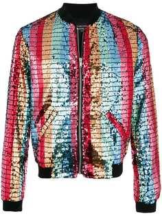 Garcons Infideles куртка-бомбер в полоску с пайетками