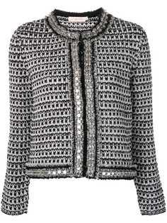 Tory Burch твидовый декорированный пиджак
