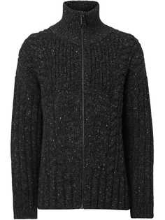 Burberry Cable Knit Cashmere Wool Mohair Zip-front Sweater
