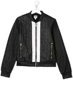 Karl Lagerfeld Kids куртка-бомбер со стеганым эффектом