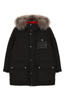 Пуховая куртка с меховой отделкой Moncler Enfant