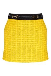 Черно-желтая мини-юбка Gucci