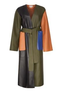 Разноцветное кожаное пальто Loewe
