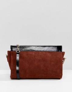 Кожаная сумка на плечо с ремешком-цепочкой ASOS DESIGN - Рыжий