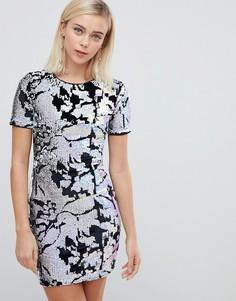 Платье с короткими рукавами и пайетками Parisian - Черный