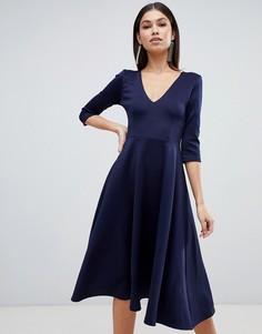 Платье миди с глубоким V-образным вырезом Club L - Темно-синий