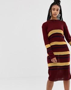Вязаное платье-джемпер миди в полоску Daisy Street - Красный
