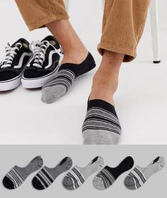 5 пар невидимых носков в монохромную полоску ASOS DESIGN - Мульти