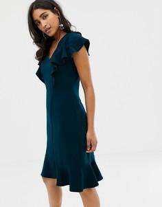 Платье с оборками на подоле и на плечах Closet - Зеленый