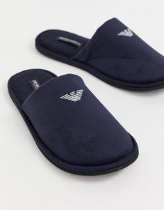 Темно-синие слиперы с логотипом Emporio Armani - Темно-синий