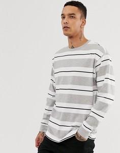 Серый oversize-лонгслив в полоску New Look - Серый