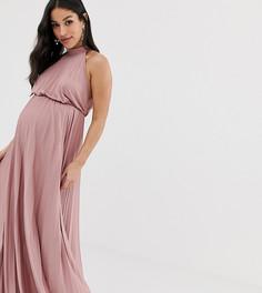 Плиссированное платье макси с высоким воротом ASOS DESIGN Maternity - Розовый